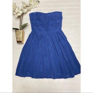 5/48 Brand 100% Silk Pleated Cadet Blue Dress